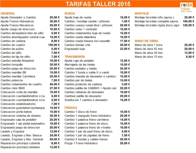 TARIFAS TALLER